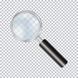 在透明背景隔绝的放大镜现实 向量 库存照片