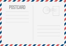 在透明背景隔绝的明信片的创造性的传染媒介例证 邮政旅行卡片艺术设计 空白的航寄大模型t 向量例证