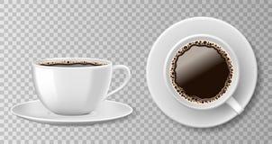 在透明背景隔绝的现实咖啡杯顶视图 白色空白的杯子用无奶咖啡和茶碟 向量 库存例证