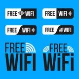 在透明背景隔绝的自由wifi象符号集的创造性的例证 wlan的艺术设计无线网络 库存图片
