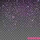 在透明背景隔绝的落的发光的紫色闪烁五彩纸屑 免版税库存照片
