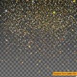 在透明背景隔绝的落的发光的金子闪烁五彩纸屑 图库摄影