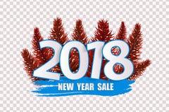在透明背景隔绝的蓝色新年销售2018年概念 库存照片