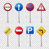 在透明背景隔绝的路标收藏 公路交通控制 车道用法 中止和出产量 管理 免版税库存图片