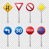 在透明背景隔绝的路标收藏 公路交通控制 车道用法 中止和出产量 管理 免版税图库摄影