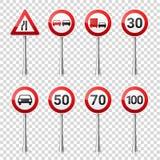 在透明背景隔绝的路标收藏 公路交通控制 车道用法 中止和出产量 管理 免版税库存照片
