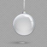 在透明背景隔绝的透明圣诞节球 传染媒介假日设计元素 向量例证