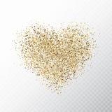 在透明背景隔绝的闪烁金黄心脏 与星团不可思议的微粒的金发光的心脏横幅 照亮 向量例证