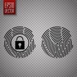 在透明背景隔绝的指纹 数字式锁定 向量 库存例证