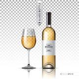 在透明背景隔绝的现实杯白葡萄酒和瓶 传染媒介3d详述的嘲笑设置的例证 免版税图库摄影