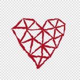 在透明背景,情人节的心脏 免版税库存照片