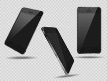 在透明背景, 3d的现实集合机动性智能手机现实巧妙的电话用不同的角度 免版税库存图片
