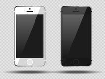在透明背景, 3d的现实集合机动性智能手机现实巧妙的电话用不同的角度 免版税库存照片