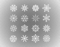 在透明隔绝的不同的雪花 向量例证
