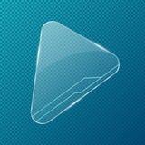 在透明,蓝色背景的现实透明玻璃 与圆角落的三角形状 明亮的强光和焕发 Banne 皇族释放例证