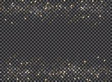 在透明ba的抽象bokeh和金子闪烁倒栽跳水步行者 免版税库存图片