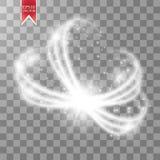 在透明backgroun隔绝的不可思议的圈子 亮光圆的光线影响 传染媒介与微粒的焕发圆环 皇族释放例证