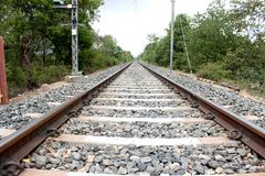 在透视图的铁路轨道 库存照片