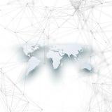 在透视的世界地图与在白色的阴影 抽象全球网络连接,几何设计技术概念 免版税图库摄影
