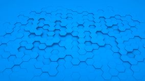 在透视的抽象背景六角形蓝色 免版税库存图片