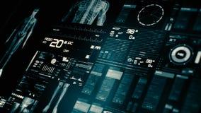 在透视/医疗屏幕接口的未来派病人监护仪屏幕 股票视频