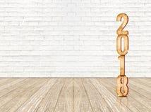 在透视wo的新年好2018木数字3d翻译 库存照片