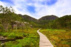 在途中的山对峭壁布道台在海湾Lysefjor 免版税库存图片
