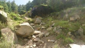在途中的山崩对Rohtang 免版税图库摄影