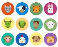 在逗人喜爱的样式的中国黄道带12动物象 免版税图库摄影