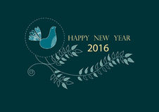 在逗人喜爱的花卉贺卡的新年好2016年,例证 图库摄影