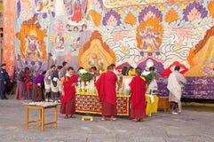 在通萨Dzong,通萨,不丹的庆祝 免版税库存照片