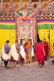 在通萨Dzong,通萨,不丹的庆祝 库存照片