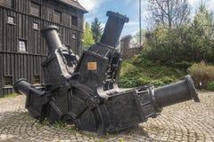 在造纸厂附近成浆状研磨机在Duszniki Zdroj在波兰 免版税图库摄影