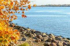 在道加瓦河河海岸线的石头在里加口岸,拉脱维亚附近的 库存图片