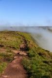 在道路的一个有薄雾的早晨在布雷肯比肯斯山国家公园 免版税库存照片