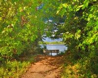 在道路的长凳向湖 免版税库存照片