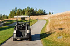 在道路的高尔夫车 免版税图库摄影