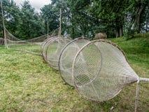 在遗产的老渔网在Kluki,波兰停放 免版税图库摄影
