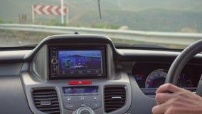 在那里模块挡风玻璃里面的汽车gps GPS模块打开 免版税库存图片