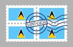 在邮票的圣卢西亚旗子 库存照片