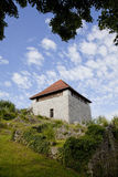 在邮件毕业的老mediaval保护堡垒在Kamnik 图库摄影