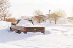 在郊区居民的暴风雪 库存图片