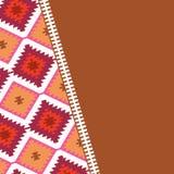 在部族样式土耳其地毯米黄红褐色的卡片样式 补缀品马赛克东方人与传统民间几何o的kilim地毯 皇族释放例证