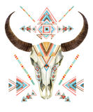 在部族样式的母牛头骨 有种族装饰品的动物头骨 库存图片