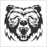 在部族样式的顶头北美灰熊棕熊 库存例证