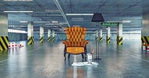 在都市空的停车处的豪华扶手椅子 免版税库存照片