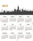 2015在都市风景难看的东西背景的年时髦的日历 图库摄影