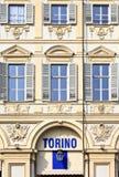 在都灵(托里诺)巴洛克式的建筑学的广场圣克罗 图库摄影