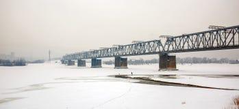 在鄂毕河的铁路桥 编译的街市现代新西伯利亚俄国 库存照片
