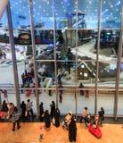 在酋长管辖区的购物中心的里面滑雪迪拜在迪拜,阿拉伯联合酋长国 免版税库存图片